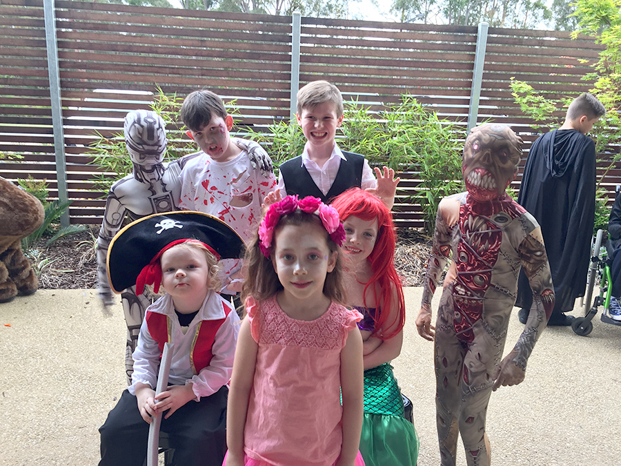Local children celebrating at the Greenery Halloween Disco.