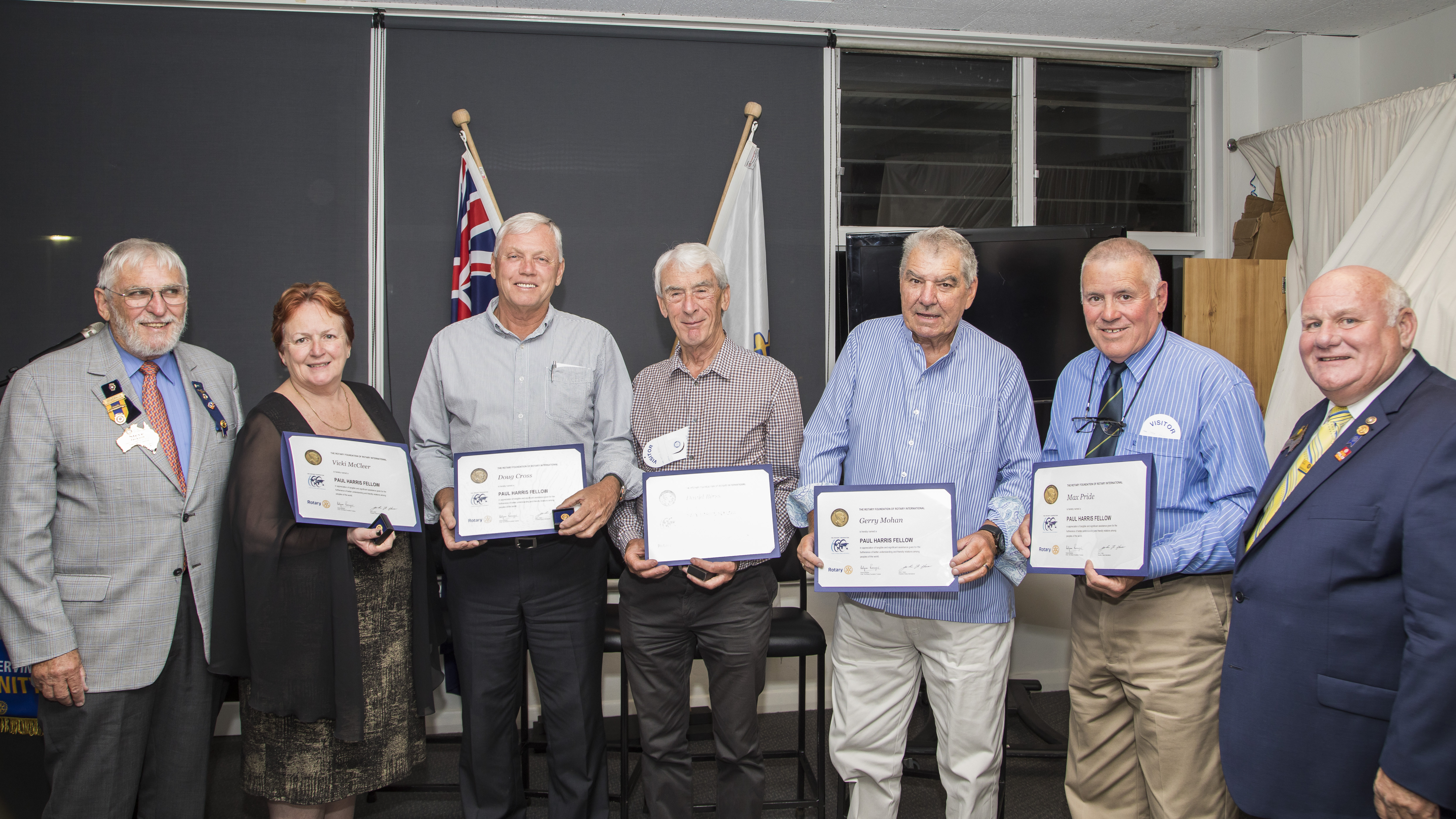 The five members of the Community honoured with the Paul Harris Fellow. Steve Jackson (District Governor), Vickie McCleer, Doug Cross, David Birss, Gerry Mohan, Max Pride, Peter Raynor (District Chair).   Photo by Henk Tobbe