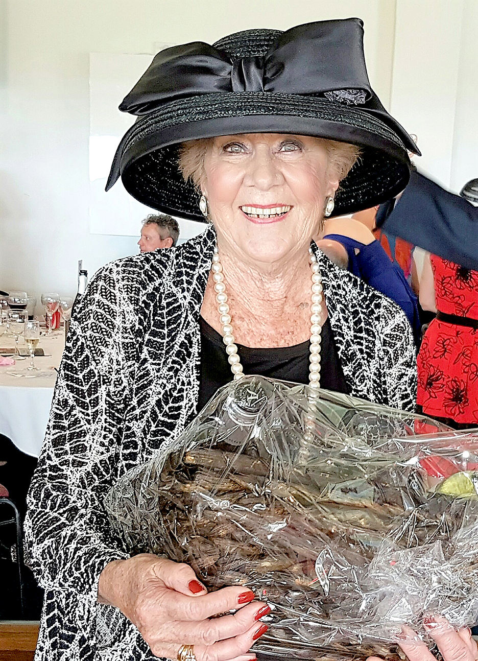Trish Monaghan won the Best Dressed Lady on Melbourne Cup Day. Photo by Anne Gibson