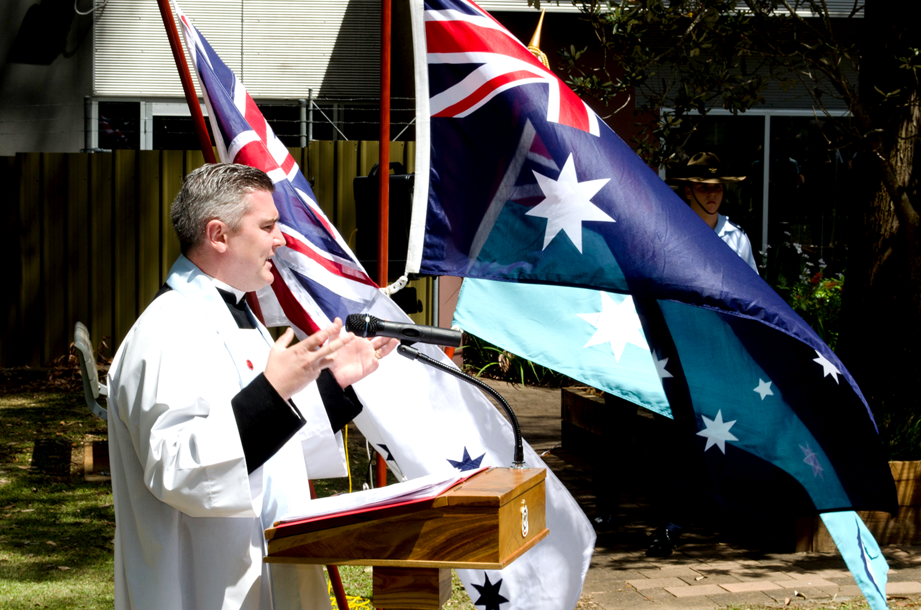 Father Chris Yates offering the blessing and reflection at last year's service for Remembrance Day.
