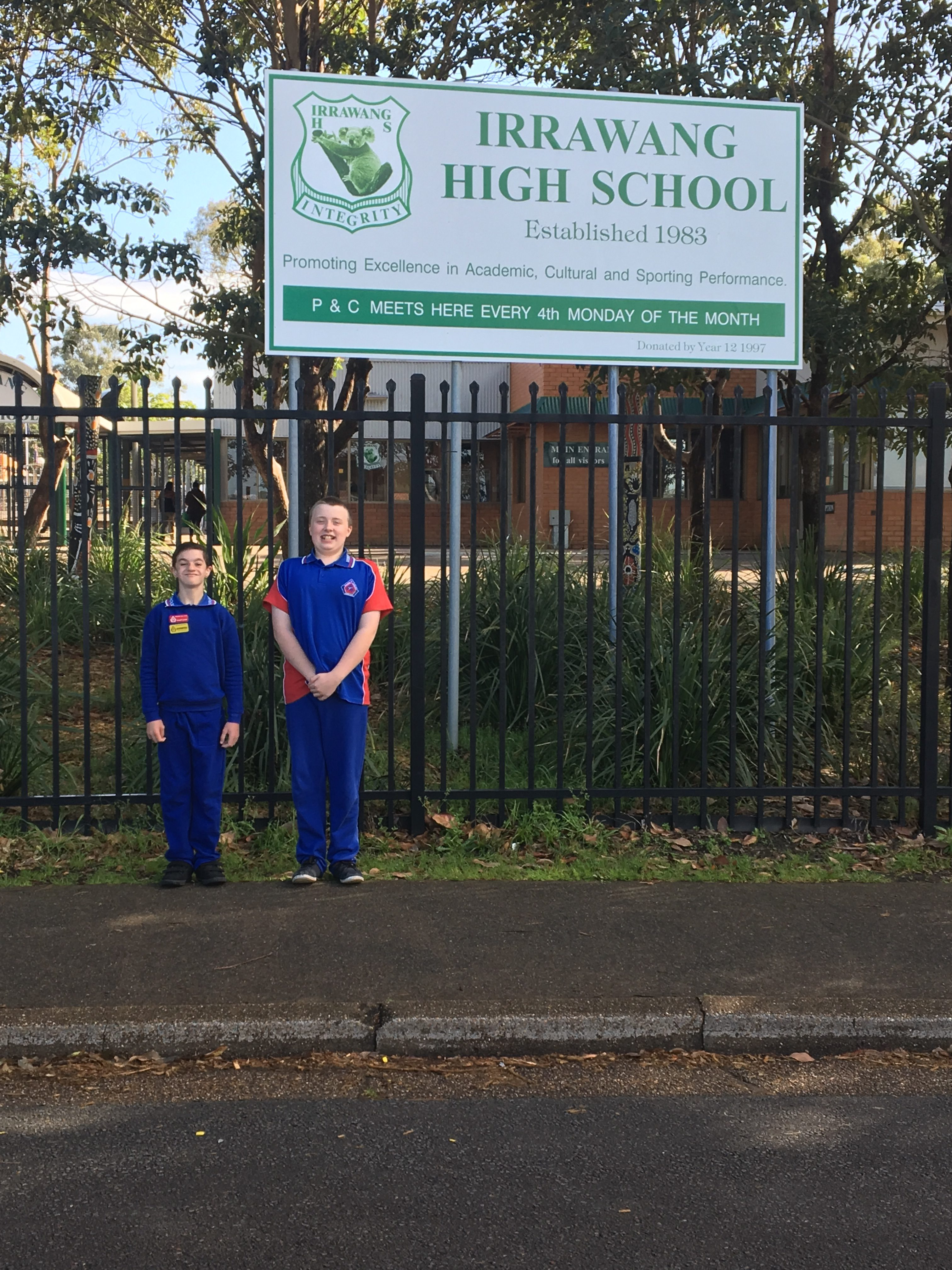Otto van de Wijgaart and Joel Cunningham outside Irrawang High School, where they will attend in 2017.