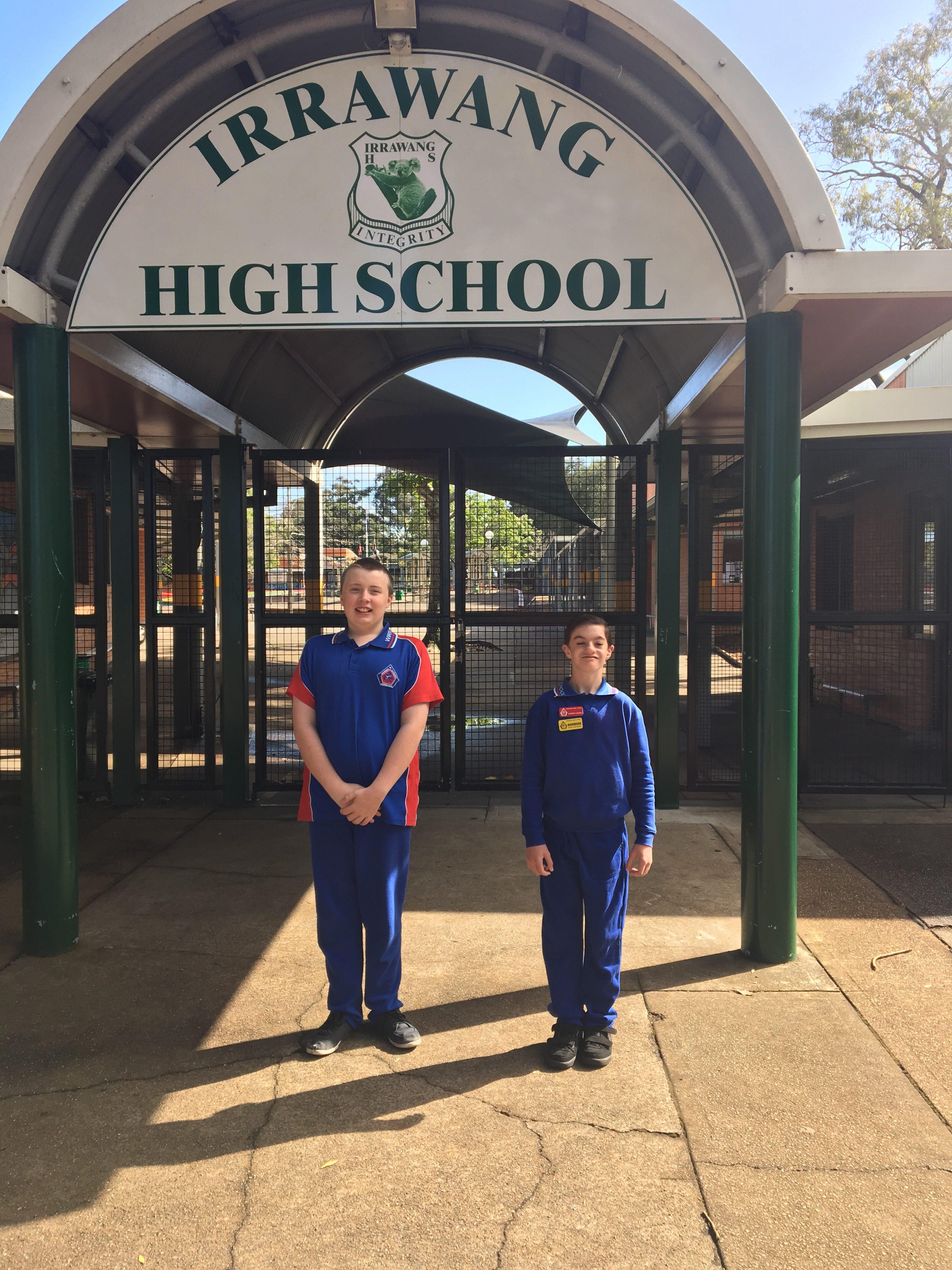 Otto van de Wijgaart and Joel Cunningham, outside their new high school for 2017.