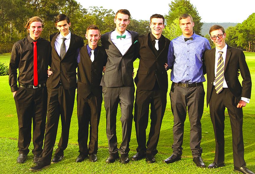 FORMAL: Ben Eadie, Noah Pholi-Harris, Jayden Lilley, Dylan Tooze, Kyle Shultz, Jordan Gregory and Josh Collins.  Photo Stacey Brown
