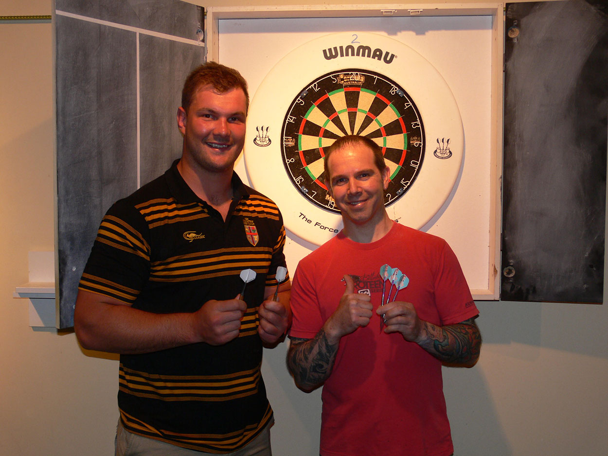 Michael Howell and Michael Russom , the runners up for the social darts evening.