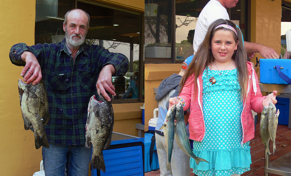 1: Robert Bartlett displaying two huge drummer. 2: Poppy Rapley showing off her great catch of bream and tailor.