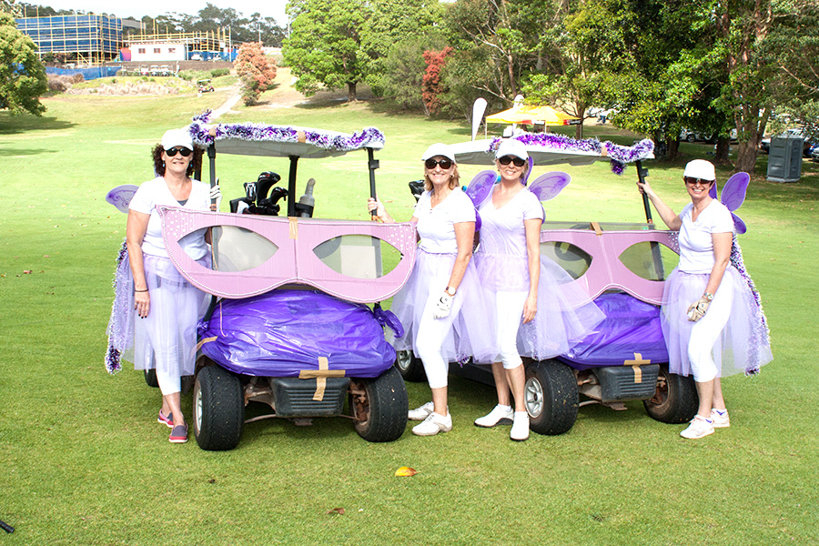 Kerry-Ann Brown, Rhondda Shaw, Catherine Bliss and Kylie Brown pretty in purple for the Golf Charity Day. Photo supplied by PSWCSG