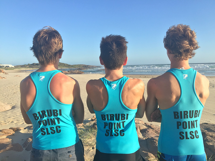Birubi Point SLSC Cadets on patrol:  Maurice Giepmans, Angus Tonks and Jack Rixon. Photo by Jewell Drury