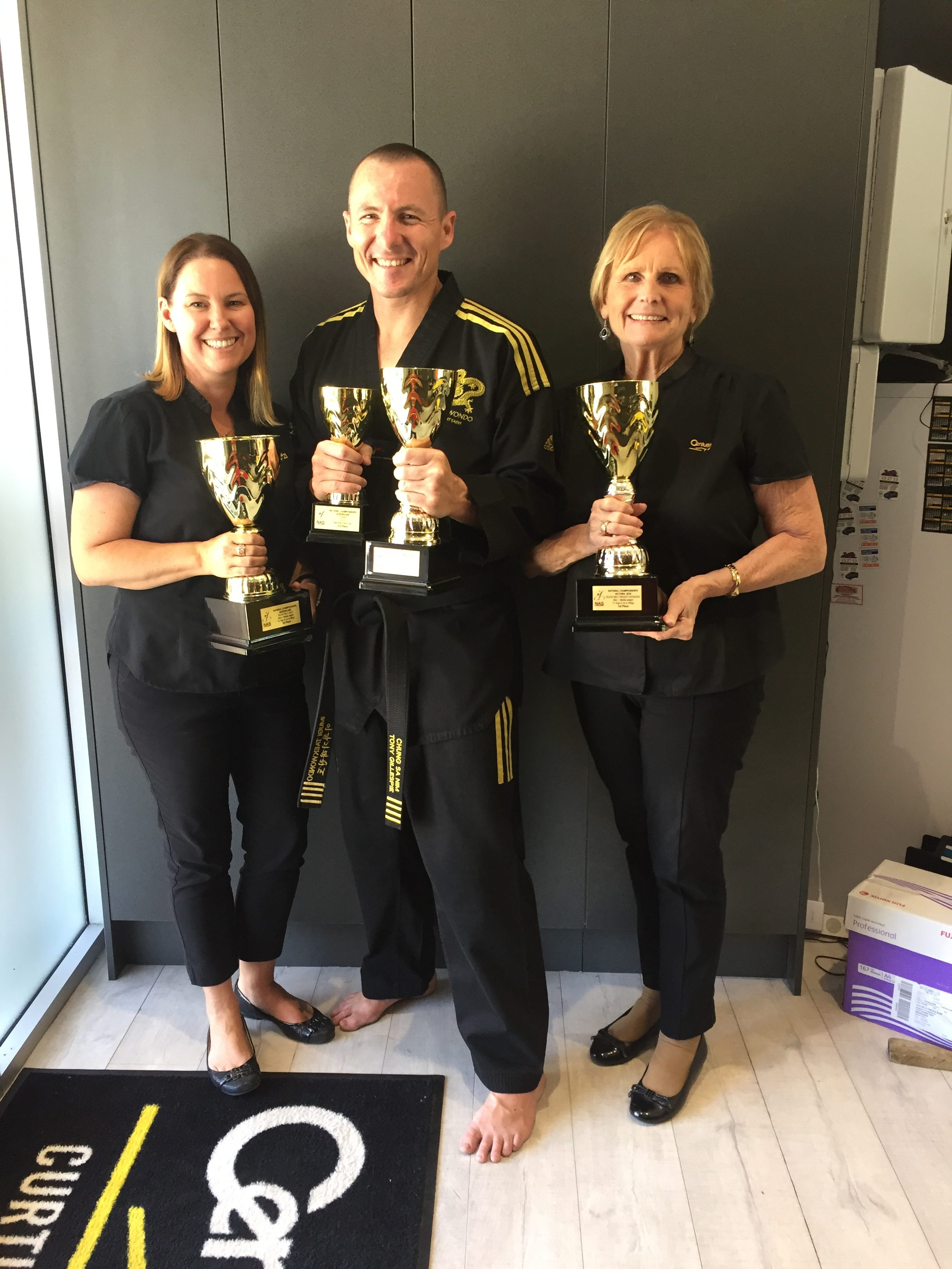 Jane Curtis, Tony Gillespie and Kerry O'Donnell (Century 21 Curtis & Blair - Major Sponsor of Imugi TKD).