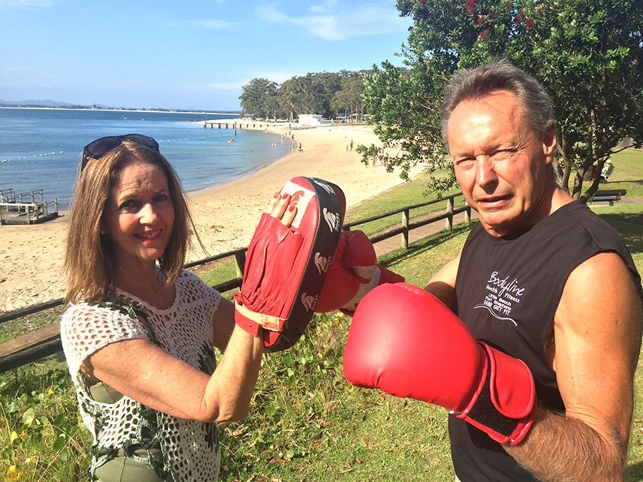 Punching Parkinson's Vicki Tillott, Seniors Fitness Instructor, and President of Tomaree Parkinson's Support Group Lee Anlezark.  Photo by: Jewell DRURY