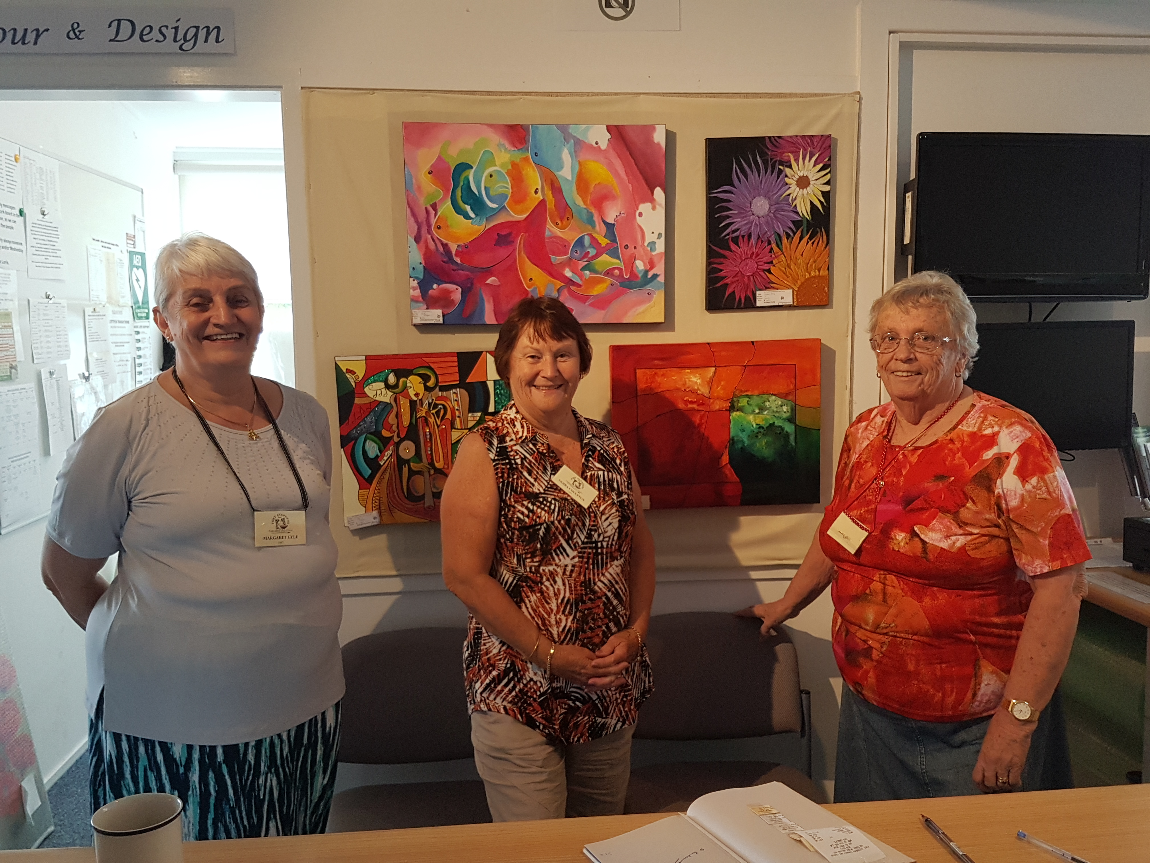 Margaret Lyle, Moira Coulston and Doreen Lambourne - at work in the gallery