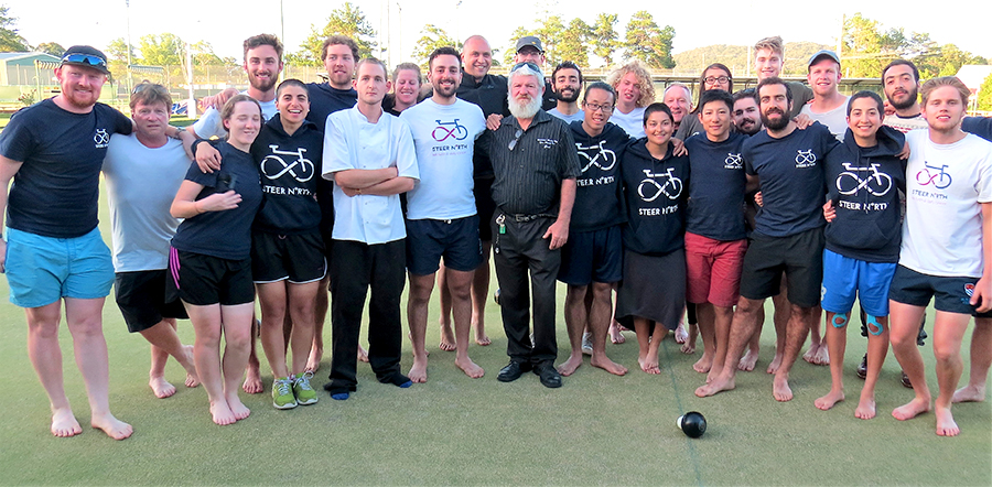 TEAM SPIRIT: Greens Bistro Chef David Shore, Steer Travel Officer Peter Hosri and Bulahdelah Bowling Club's Grant Bidgood with the Steer North cyclists.