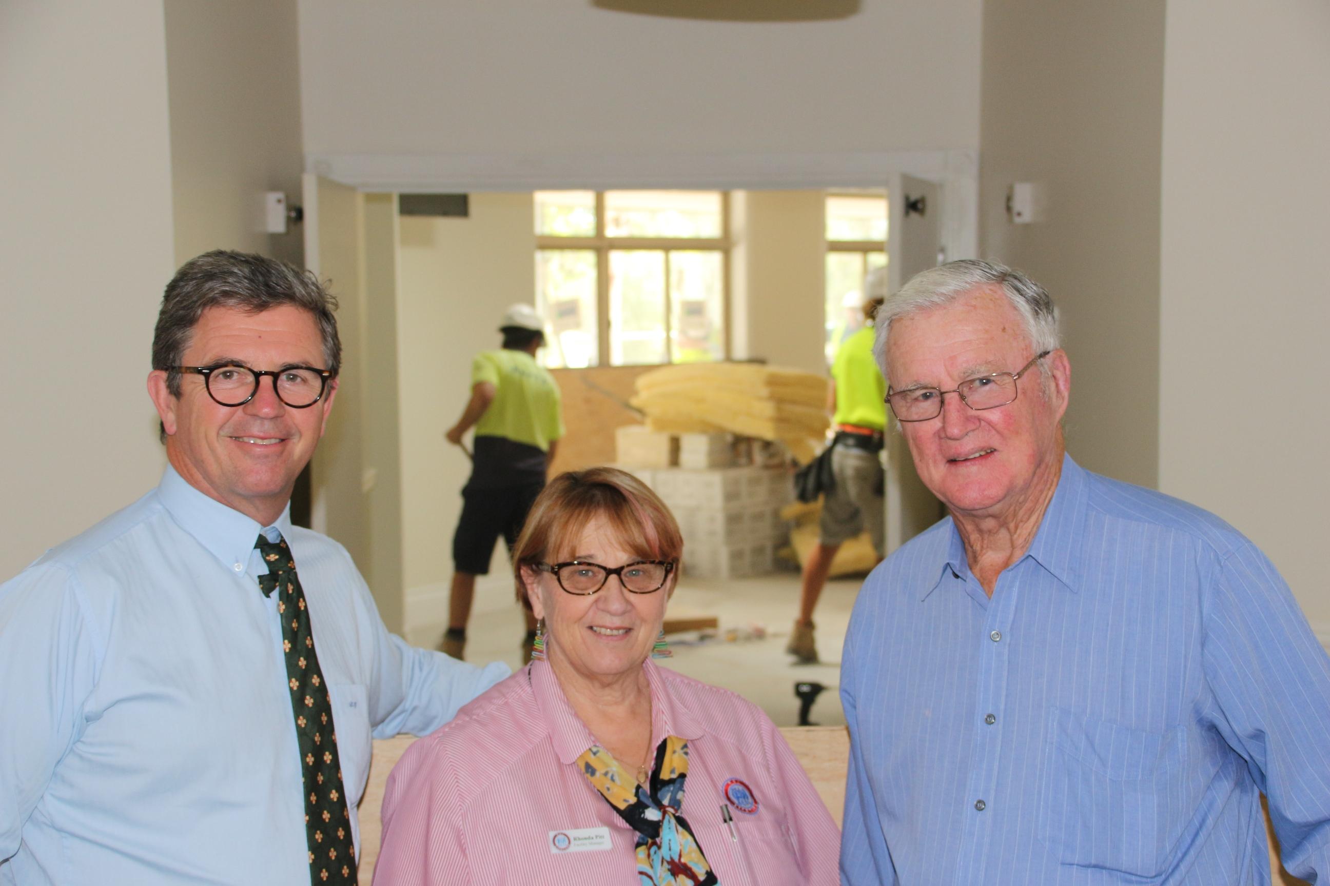 NURSING HOME VISIT: Dr David Gillespie, Rhonda Pitt, Peter Sinclair.  Photo: Supplied