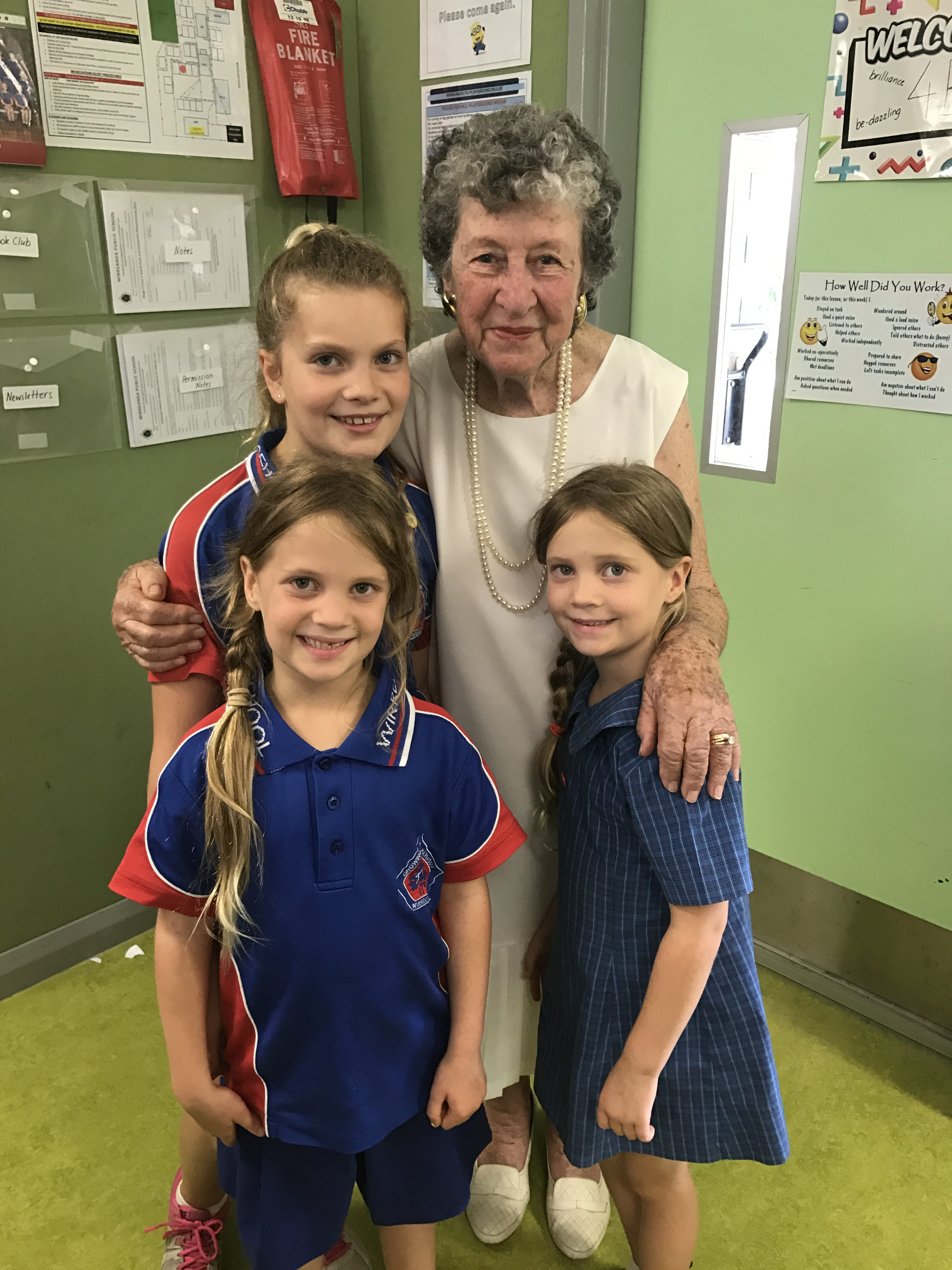 Lexi, Lucy and Lyla Magnee, with Great Nan Gwen Martin, 85 years old.