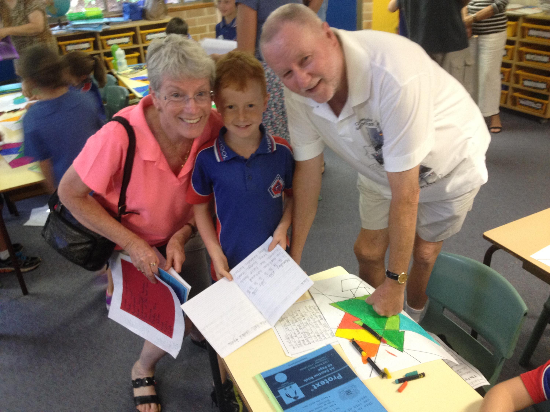 Kayden Turner and his Grandma and Granddad David and Janice Spalding.