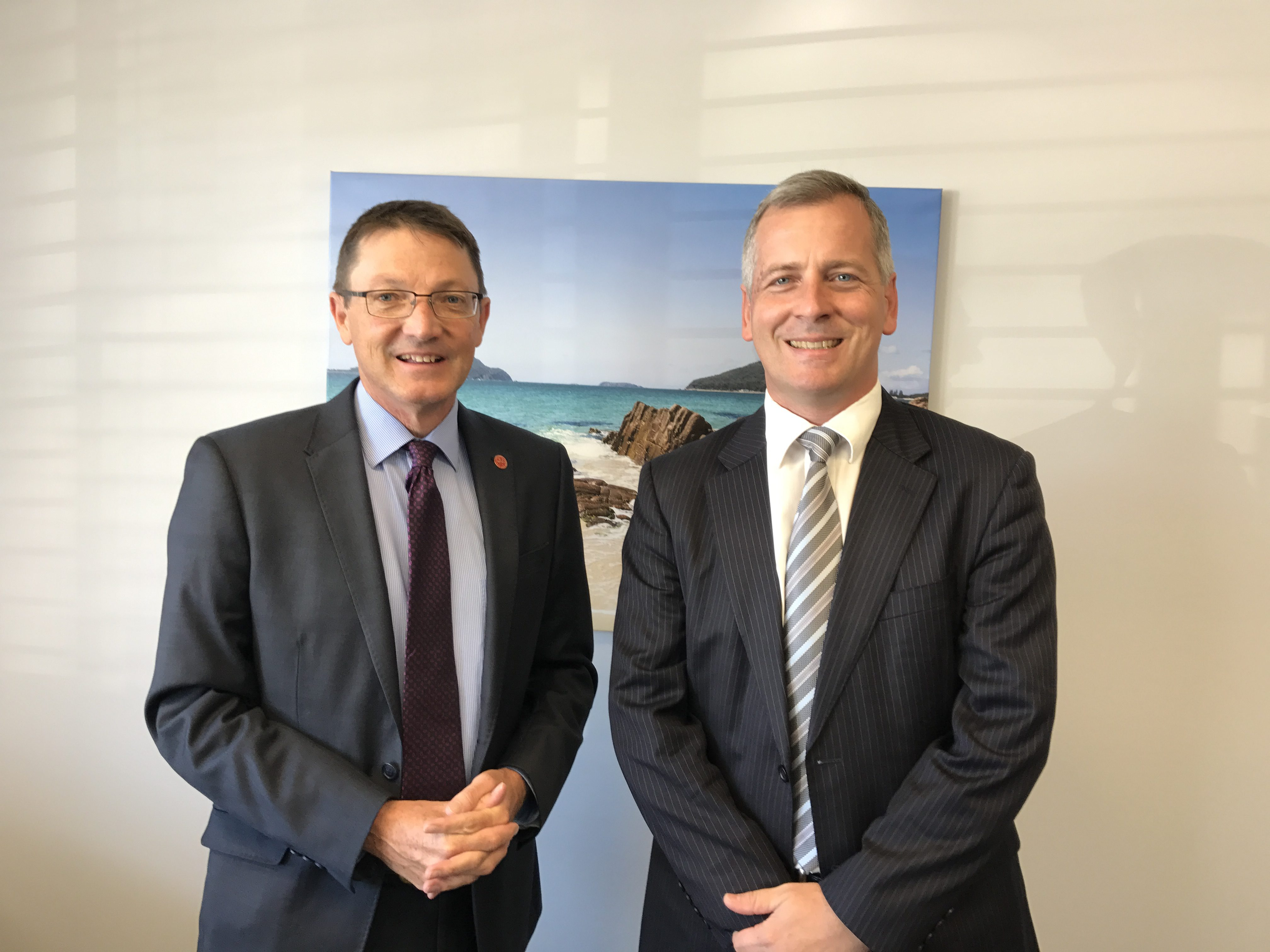 Parliamentary Secretary for the Hunter Scot MacDonald with Principal of St Philip's Christian College Dr Timothy Petterson.