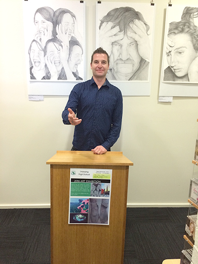 Art Teacher Grant Wyllie opening the exhibition