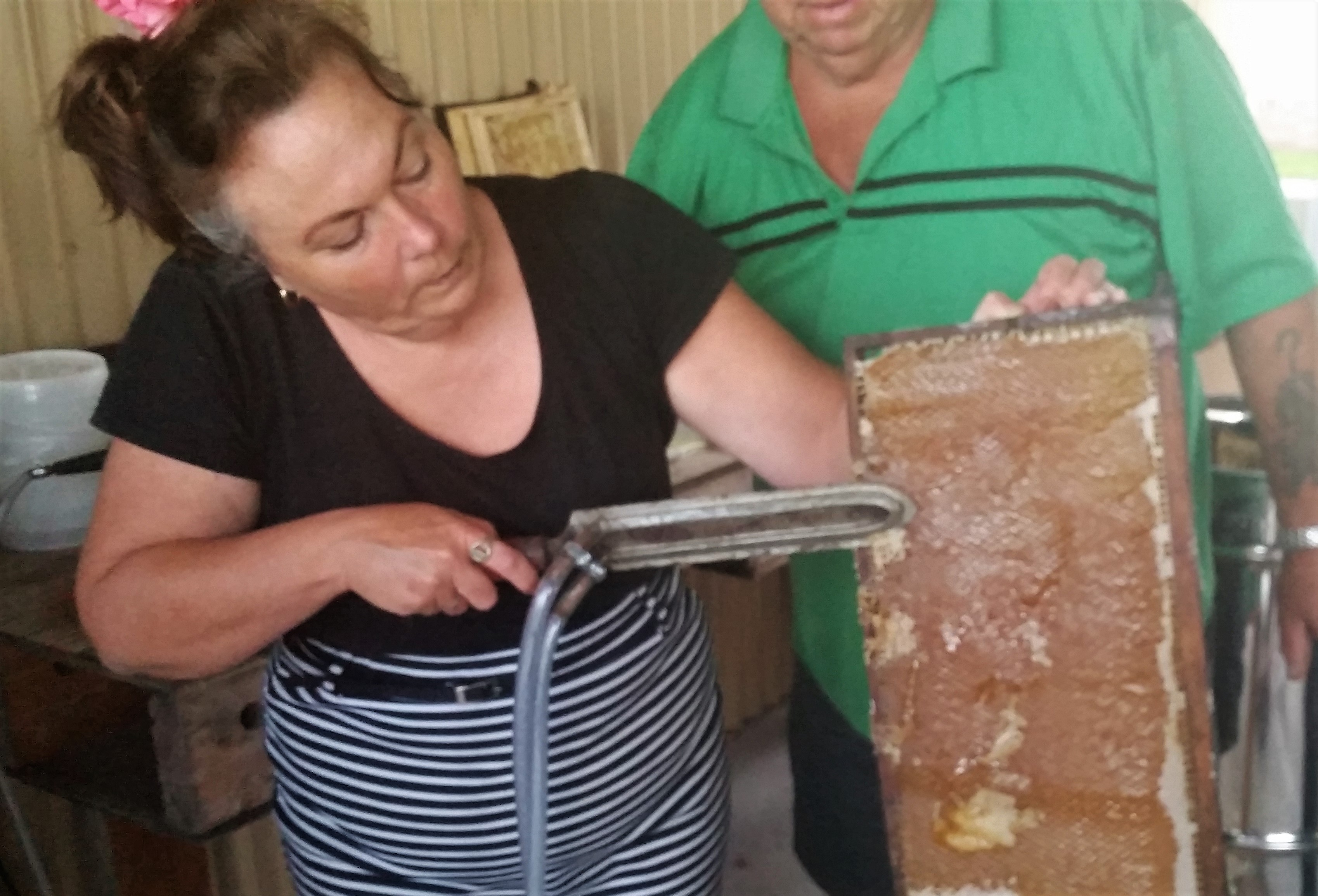 HONEY: Jo Colman using a steam knife