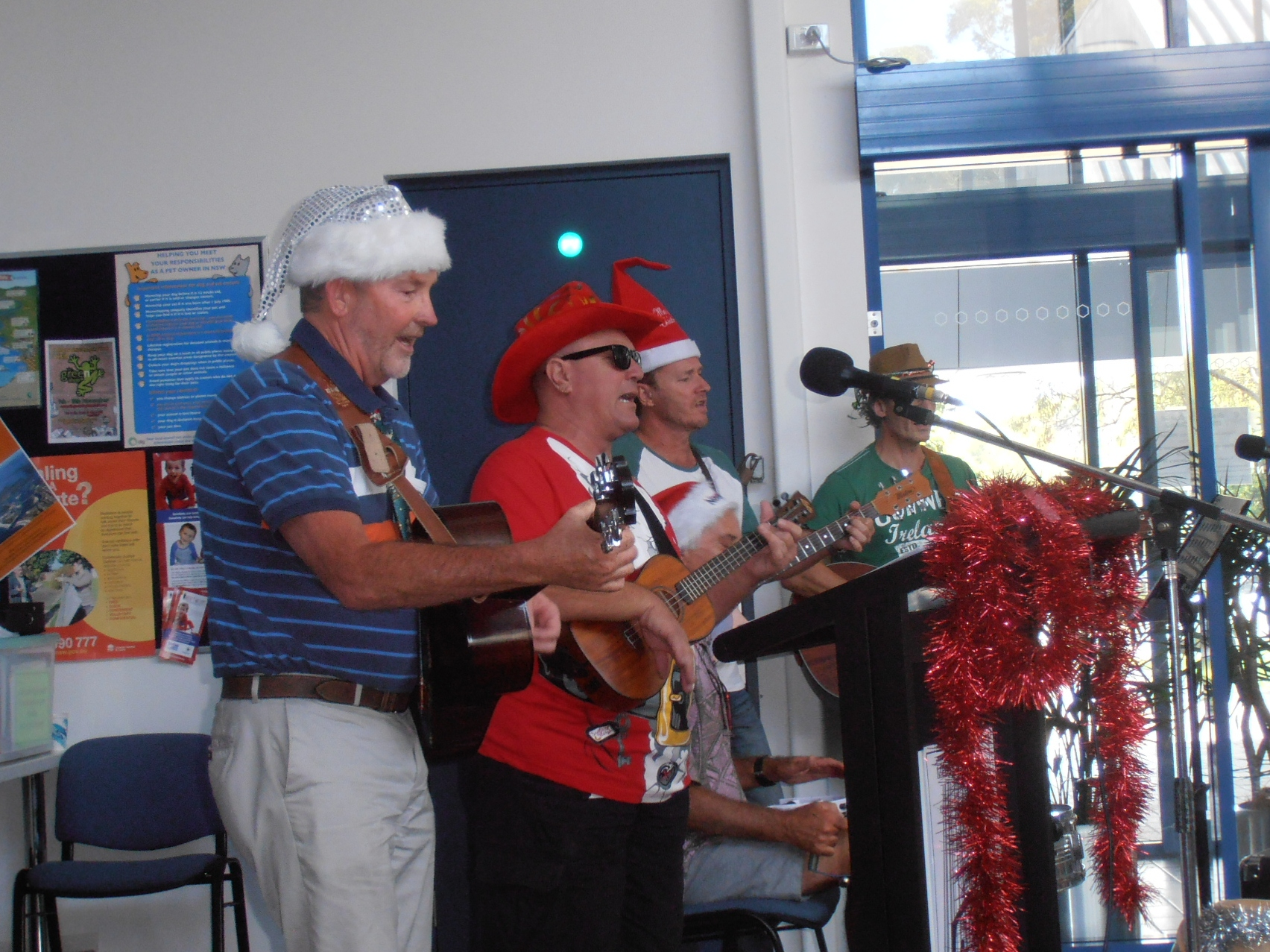 John Cavanagh, Bruno Puglisi, Marty Tooze and Steve Embry get their Christmas groove on.