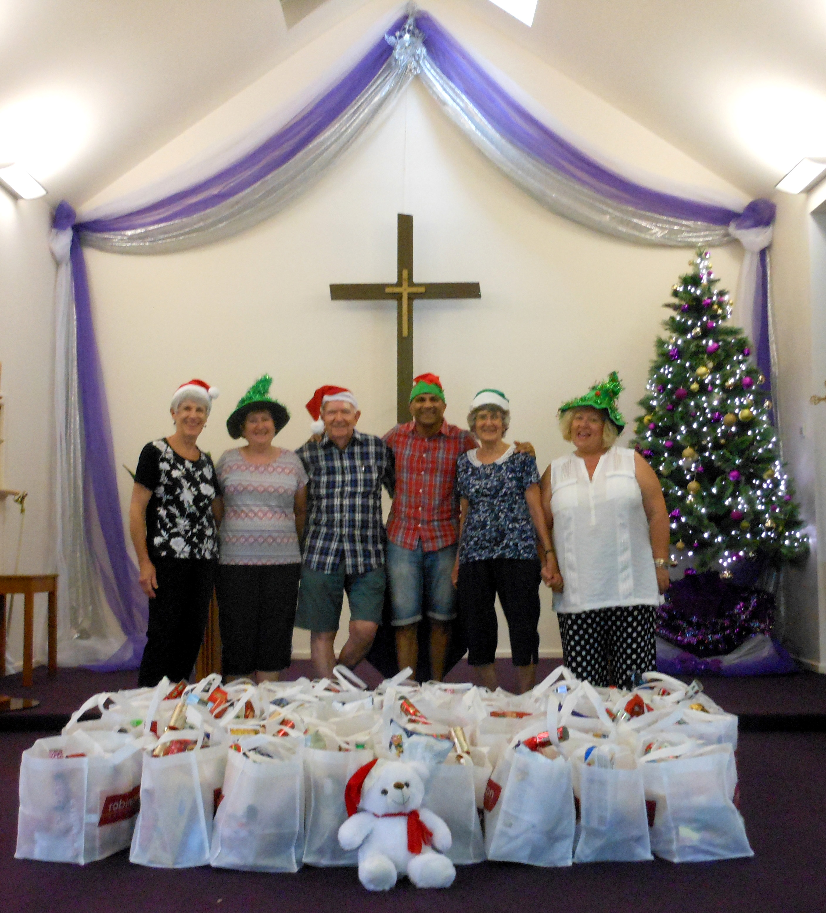 Hampers all ready to give to 100 needy families in the  area,  Rev Kesh Govan and Parishioners of All Saints.  Photo by Kesh Govan