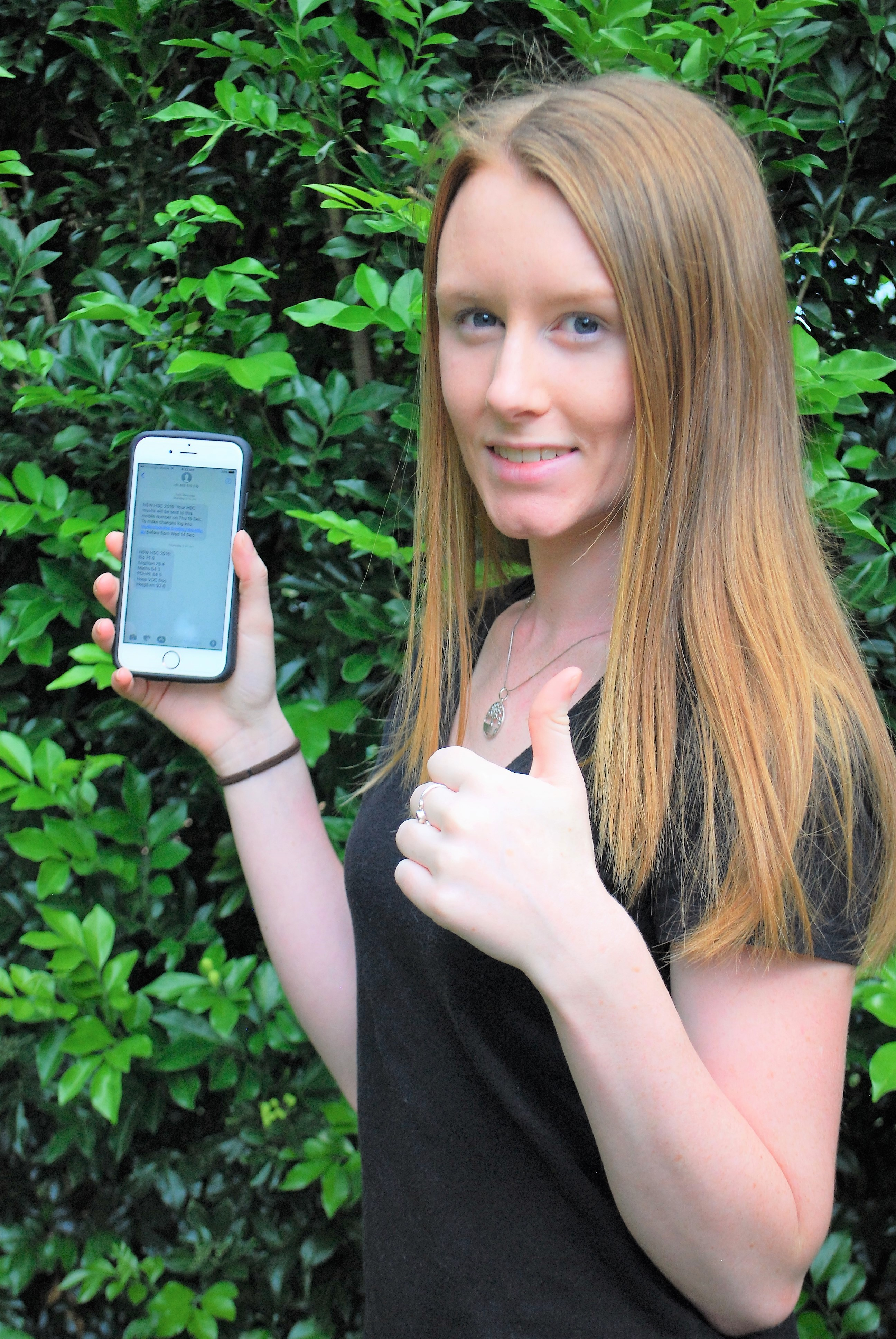 TOP RESULT: Emily Kirkpatrick received her HSC results via a text message.