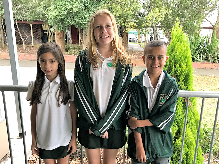 SCHOOL LEADERS: 2017 vice-captain Sarah Emanuel with captains Sophie Fowler and Shaqueil Saunders.