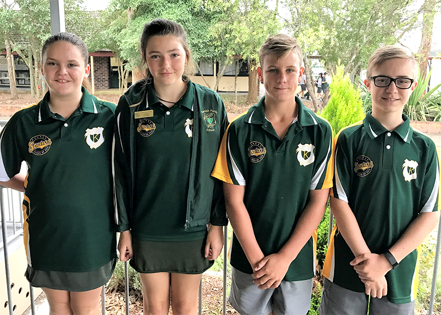 OUTGOING STUDENT LEADERS: 2016 Captains Cory Bolton and Ashley Walker and vice captains Eloise Gentle and Cohen Jarmain.