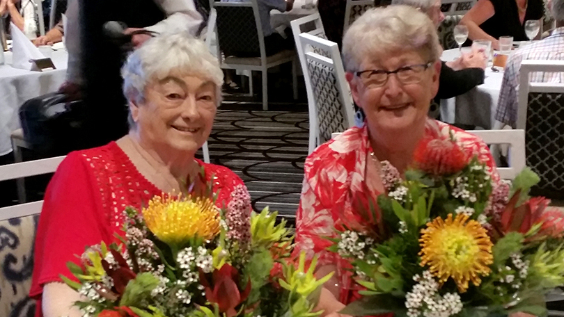 June Wilkinson, President of Nelson Bay Torchbearers for Legacy, and Carol Brindley, President of Lemon Tree Passage Torchbearers for Legacy.