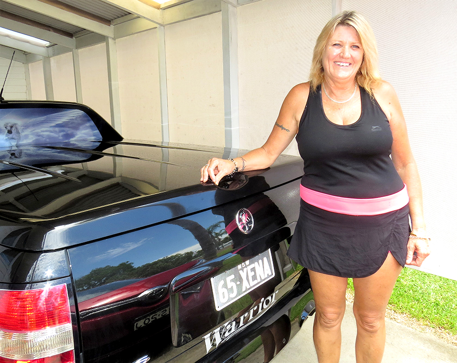 """LIFE CHANGE: Robyn Lewis's number plates are inspired by """"Xena, The Warrior Princess."""""""