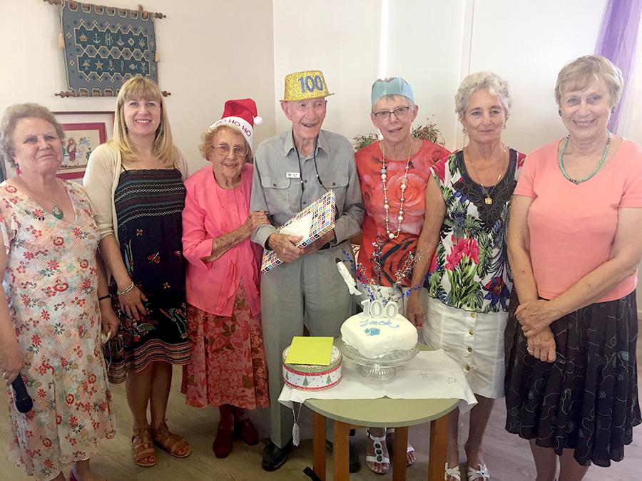 Pauline Hocking, Catherine Govan, Beryl Howard, Jack Ryan, Yvonne Stuhmeke, Eileen Weir and Jan Caldicott all joined in to celebrate Jack's 100 birthday at Mothers' Union.