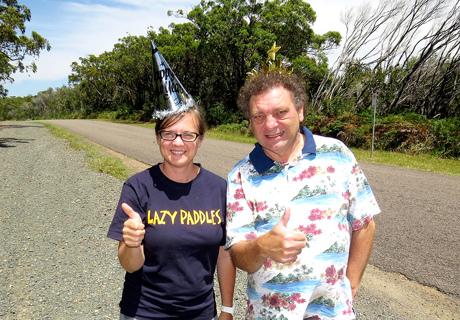 NEW YEAR CELEBRATION: Myall Coast Chamber of Commerce President Jessica Harris and Bulahdelah Chamber President John Sahyoun on Mungo Brush Road.