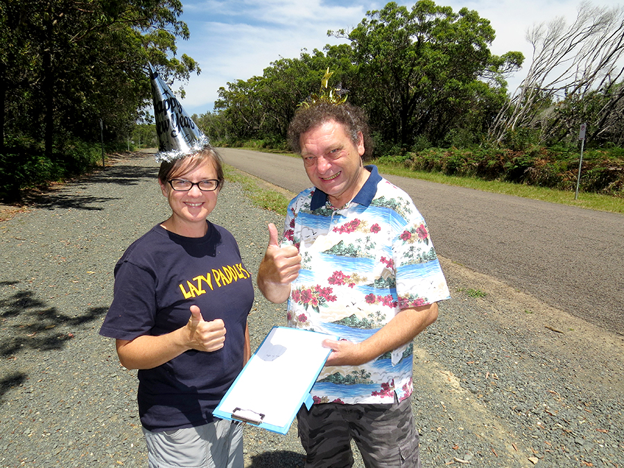 CELEBRATIONS: Myall Coast Chamber of Commerce President Jessica Harris and Bulahdelah Chamber President John Sahyoun examine the relocation plans for Mungo Brush Road.