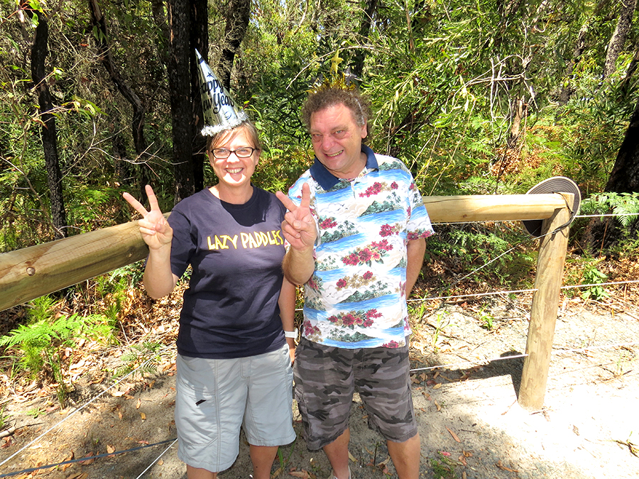 NEW YEAR CELEBRATION: Myall Coast Chamber of Commerce President Jessica Harris and Bulahdelah Chamber President John Sahyoun at Mungo Brush.