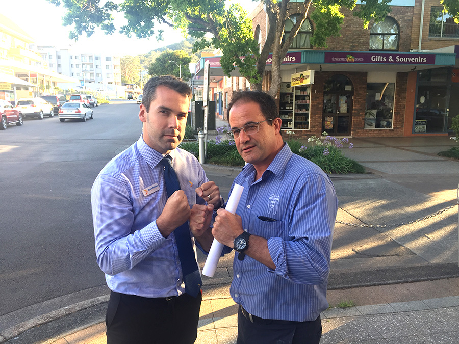 Fighting for the needs of Nelson Bay. Ryan Palmer  and Allano Cassano. Photo supplied by Ryan Palmer