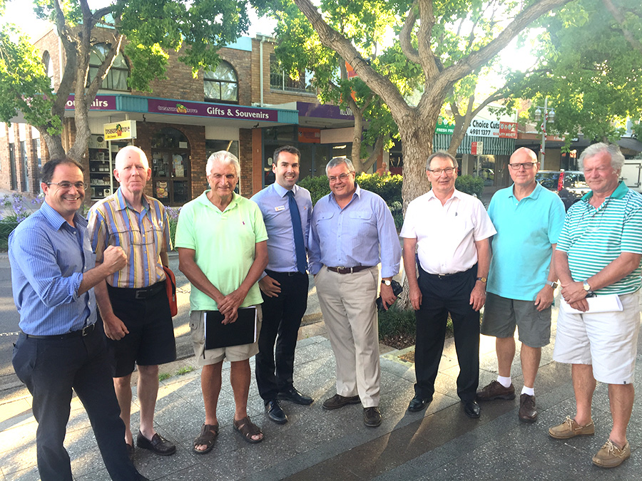 Committed to the fight for Nelson Bay Allan Cassano, Nigel Waters, Nigel Dique, Ryan Palmer, Rob Reeve, Peter Clough, Chris Muir, Bill Joncevski.