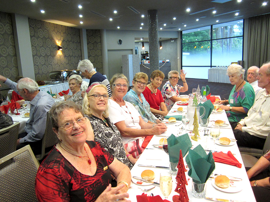 The smiling faces of The Friendship Group at their recent Christmas dinner.   Photo by President Noel Finch