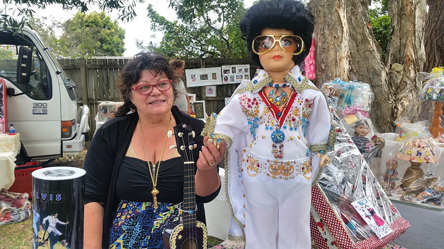 DOLL LOVER: Kerry Anne 'Kookaburra' Johnston with her Elvis Doll