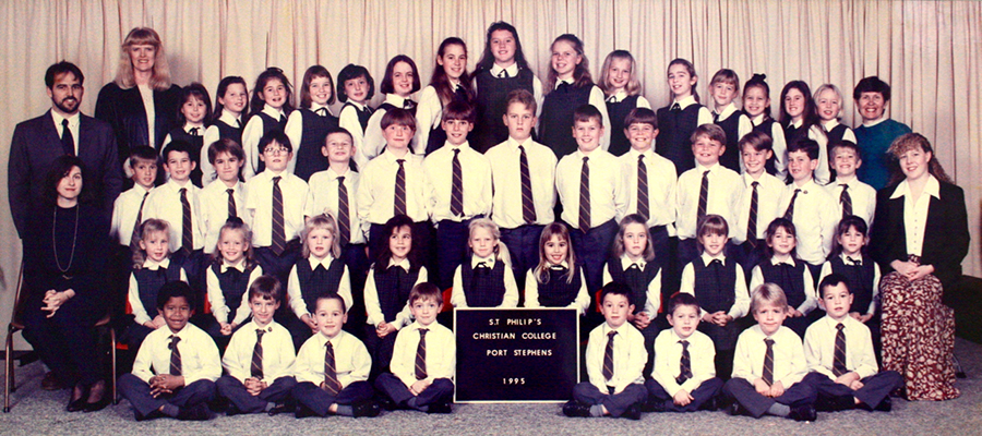 St Philip's Christian College students and staff in 1995. Supplied by St Philip's Christian College
