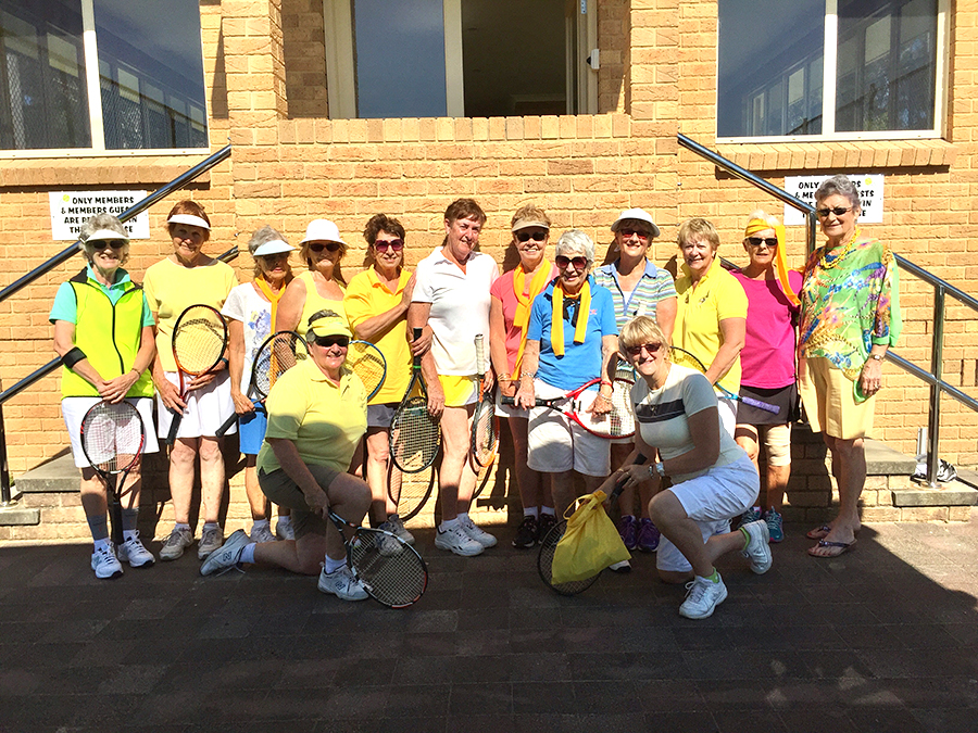 The Wednesday Tennis ladies wore yellow in honour of their friend 'Fran'.