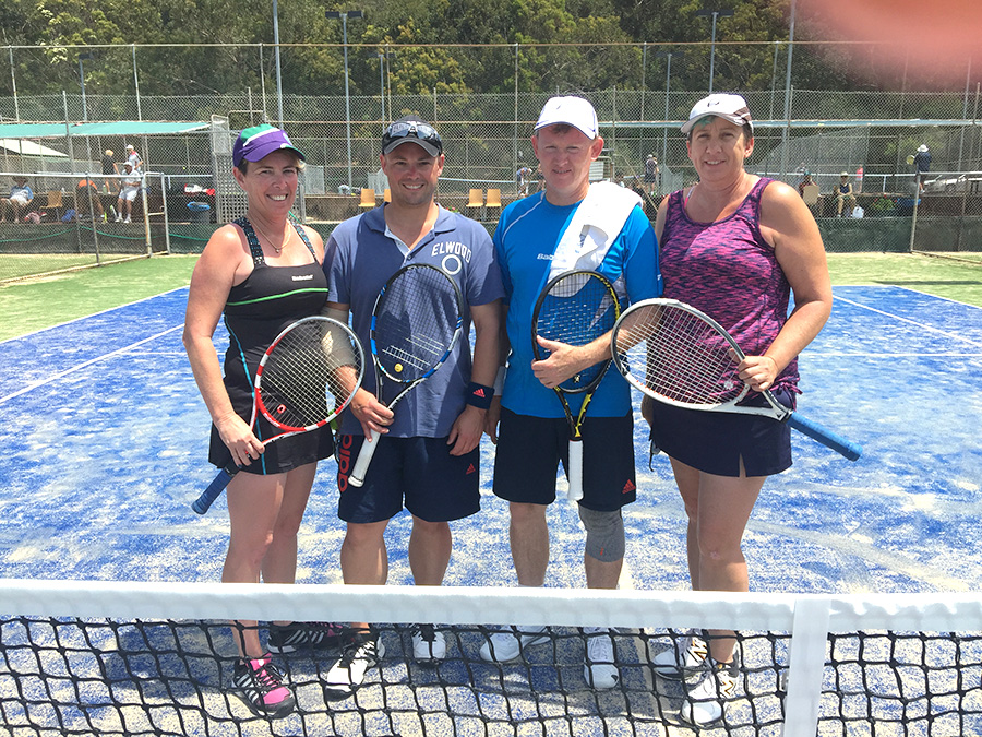 Ready for a game of doubles Katrina O'Callaghan from the Central Coast, Elaine Brockett from Picton, Dan Allen from Dubbo and Steve Taylor, Tournament Co-ordinator, from Corlette.