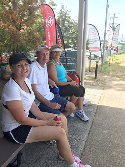 Players waiting for their next match to begin: Elizabeth Adams from Penrith , Dennis Reaves from Katoomba and Fay Yiannakopoulis from Castle Hill. Photos by Jewell Drury