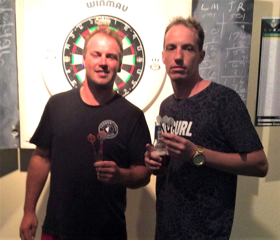 Social Darts Winners Clint Harris and Aaron Neighbour.