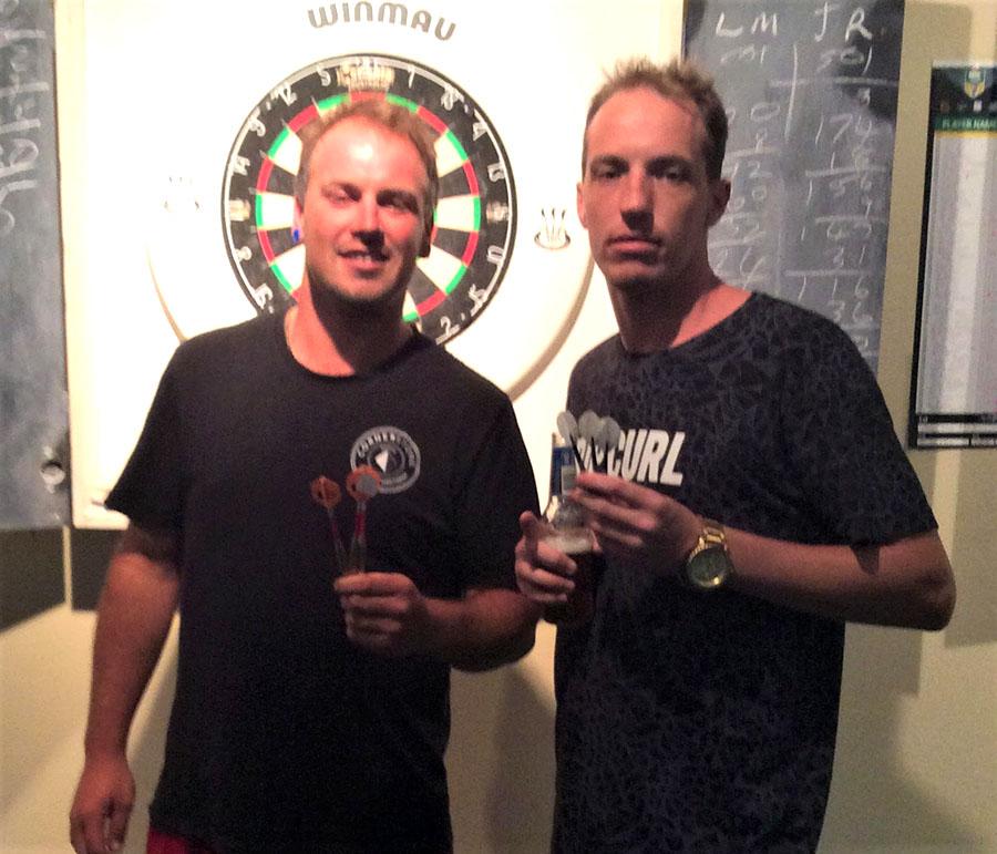Social Darts Winners Clint Harris and Aaron Neighbour.
