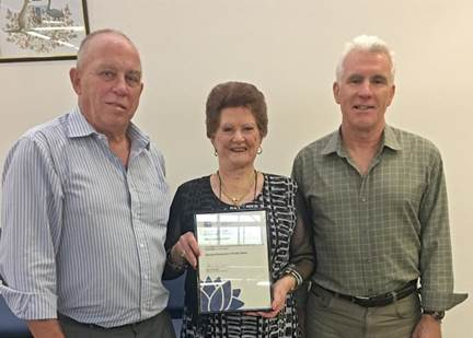 Administrator John Turner, Local Representative Committee chairperson Jan McWilliams and Interim General Manager Glenn Handford were very pleased to receive the $100,000 boost for the Backyard Bushcare program in Pacific Palms.