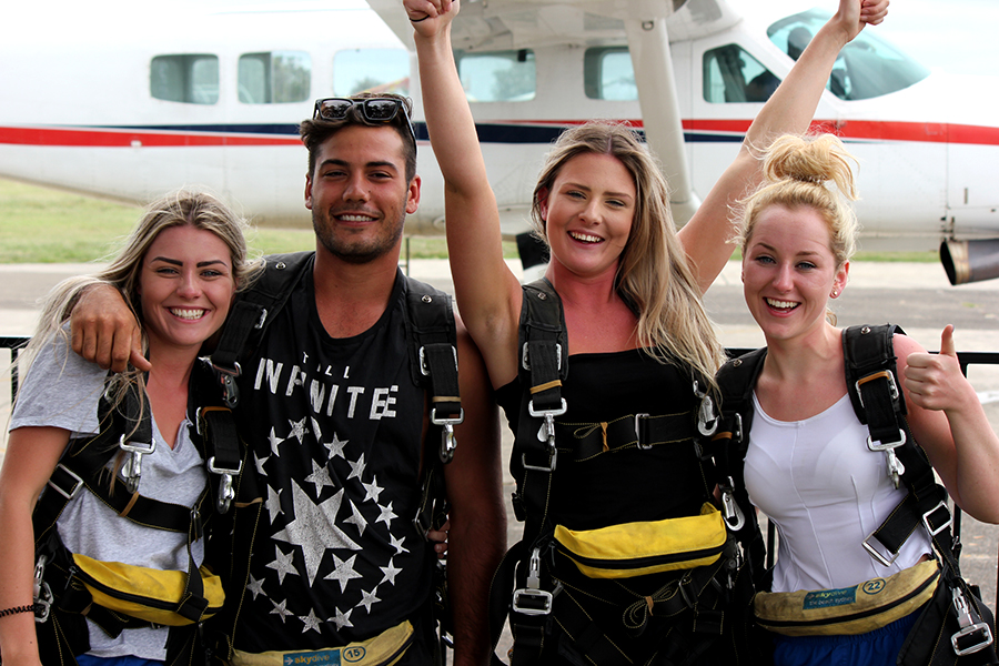 The four skydivers: Kempsey Litten, Sam Arena, Nicola Beadle and Albany Litten. Photo by Andy Litten