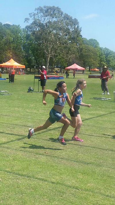 Myall Coast Little Athlete: Lenita White (on left) competing at Zone. Photos supplied