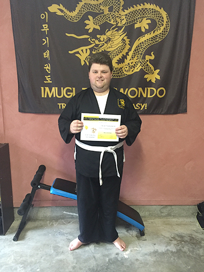 Jack Farraway after achieving his first yellow tip grading.
