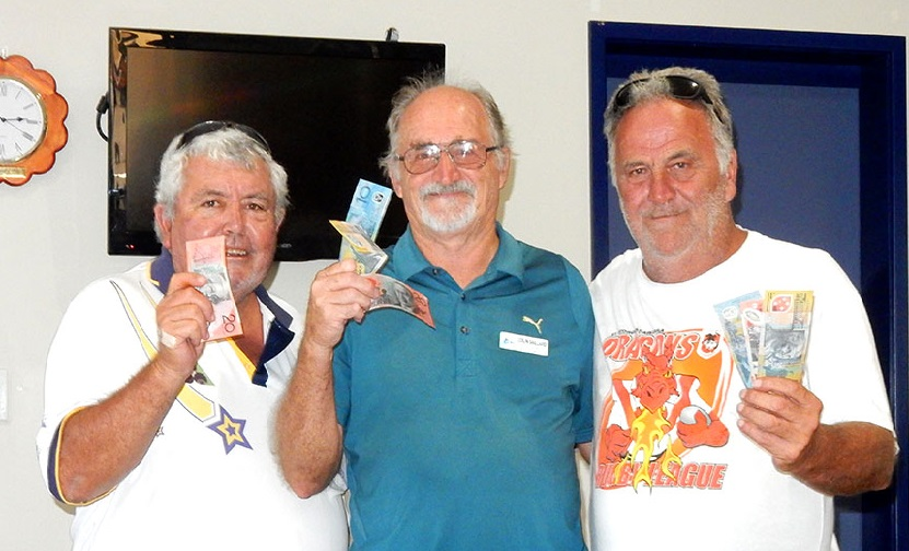 Winners of the Friday Open Jackpot Pairs:, Frank Dunn, Col Saillard and Greg Smith.