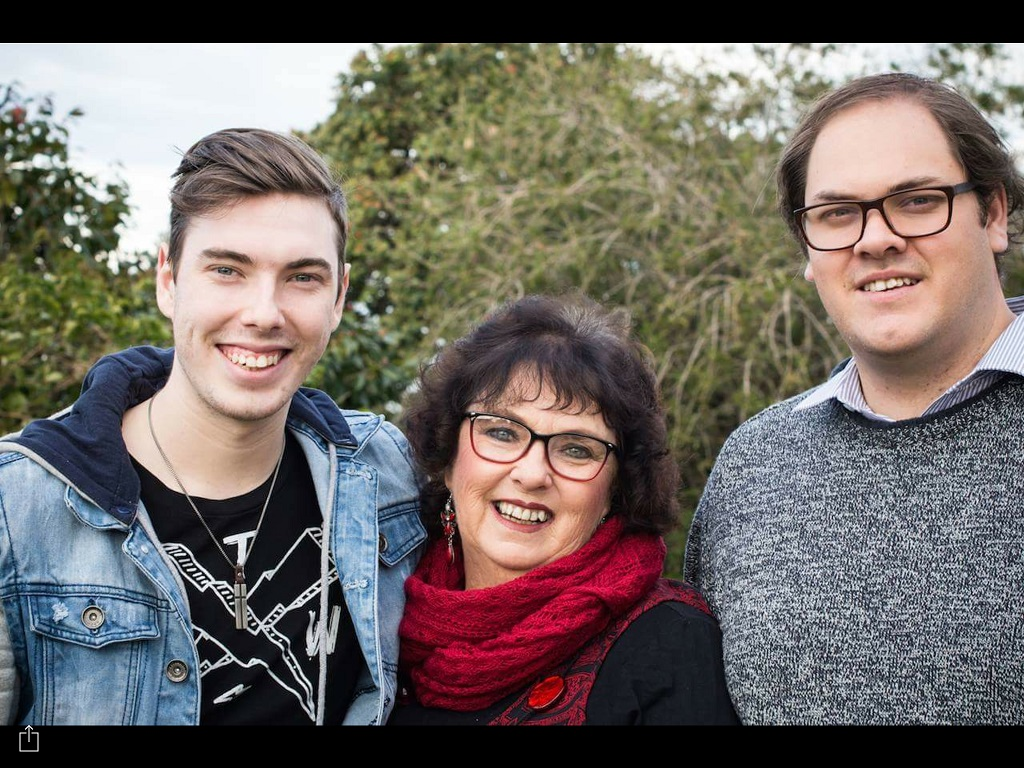 Judi Walker pictured with two of her sons, Tobias and Elliott, hopes that every new Aussie citizen will embrace our culture.