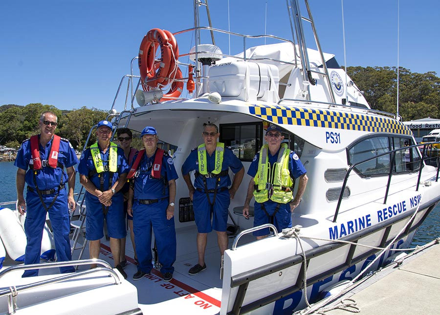 Unit Commander, Lee Uebergang; Training Officer, Brian Bibbing; Heather Perry-Connolly, Crew; Deputy Unit Commander, Neil Hansford; Ken Johnson, Skipper and Noel Corcoran, Crews on board PS31.  Photo by:  Square Shoe Photography