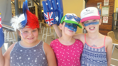 AUSTRALIA DAY FUN: Amber Hadfield aged 7, Madison O'Hara aged 9, Lily Peters, aged 8.